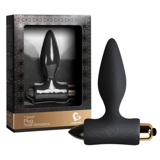 Petit Plug - anál dildó vibrátorral (fekete)