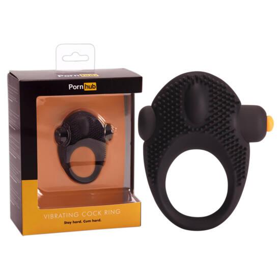 Pornhub Vibrating Cock - vibrációs péniszgyűrű (fekete)
