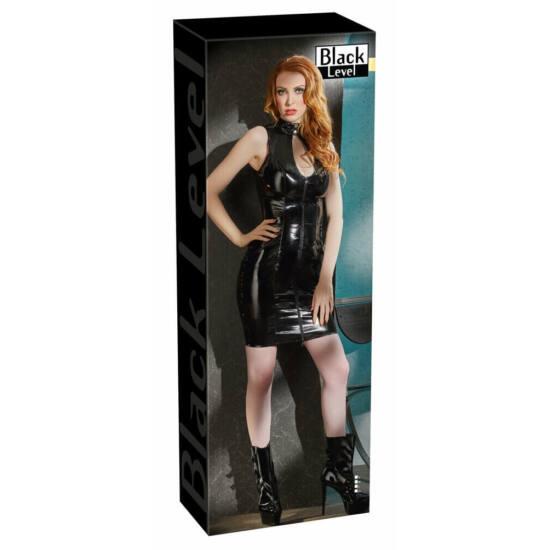 Ujjatlan, cipzáros, dekoltált lakk ruha (fekete)