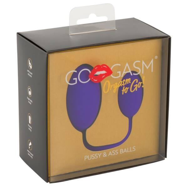 GoGasm Pussy & Ass - anál és hüvelyi gésagolyó duó (lila)