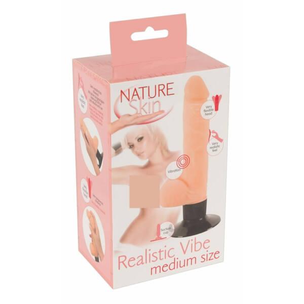 Nature Skin M - herés, tapadótalpas élethű vibrátor (natúr)