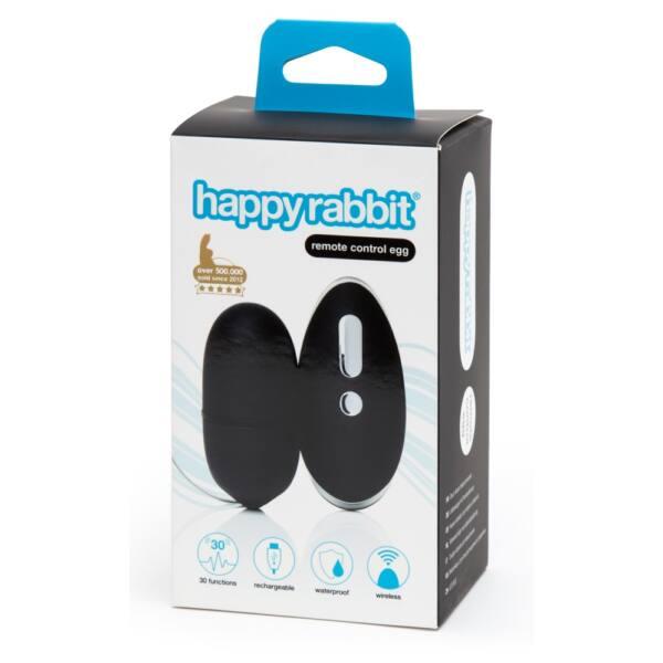 Happyrabbit - akkus, rádiós vibrációs tojás (fekete)