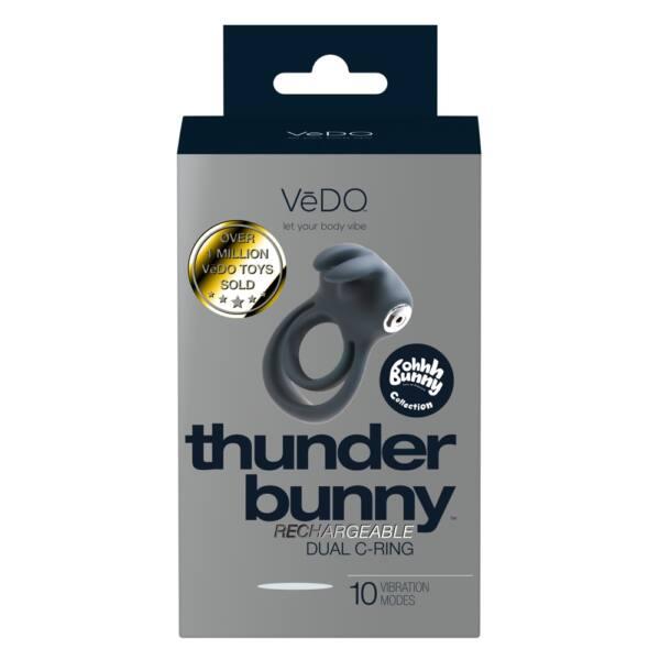 VeDo Thunder - akkus, nyuszis vibrációs here- és péniszgyűrű (fekete)