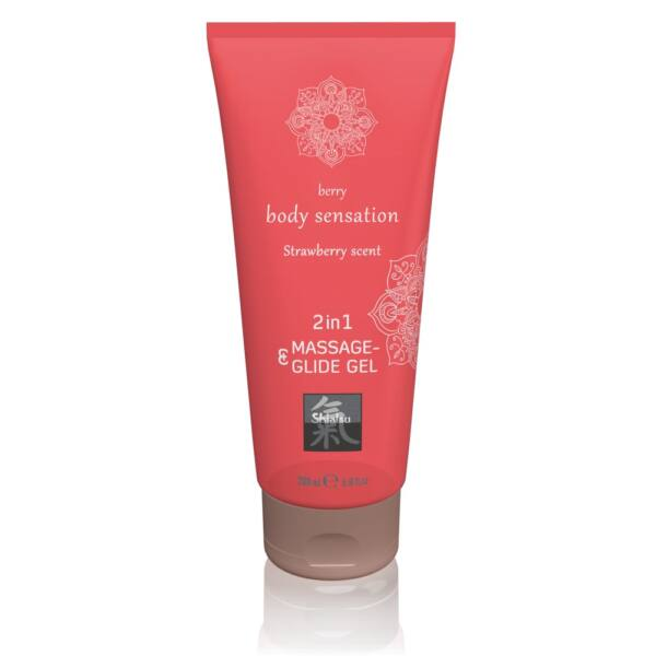 Shiatsu 2in1 Strawberry scent - masszázs síkosító (200ml) - eper