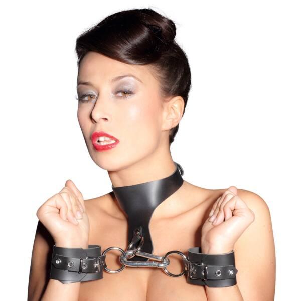 ZADO - valódi bőr nyak-csukló bilincs szett (fekete)