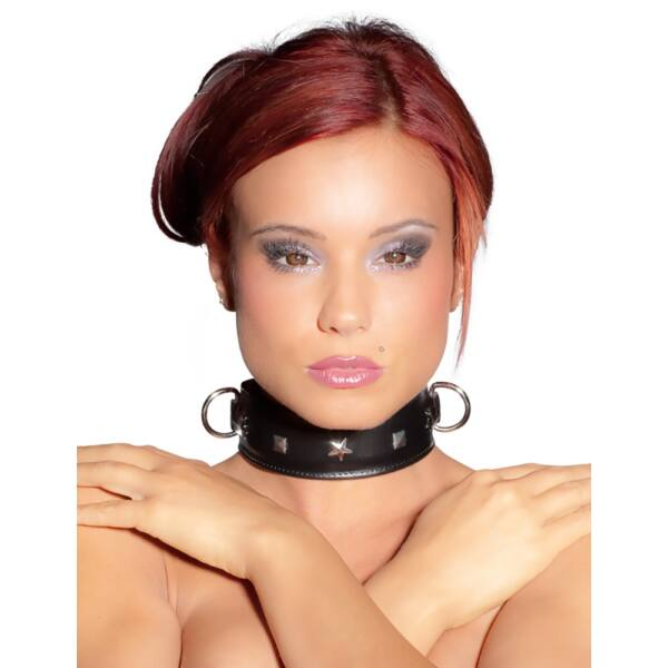 ZADO - 2 gyűrűs, valódi bőr nyakörv (fekete)