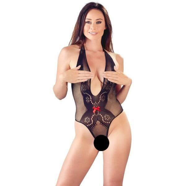 Mandy Mystery - piros masnis, nyakpántos necc body (fekete)