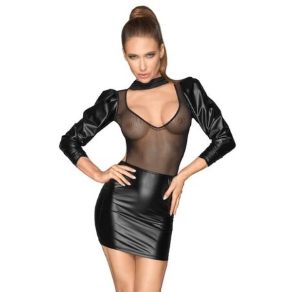 Noir - buggyos ujjú, hálós-fényes miniruha (fekete)