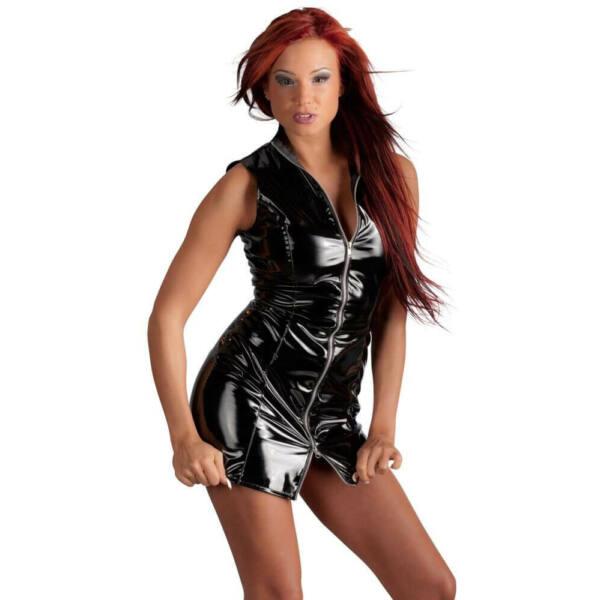 Black Level - cipzáros, lakk kabát ruha (fekete)