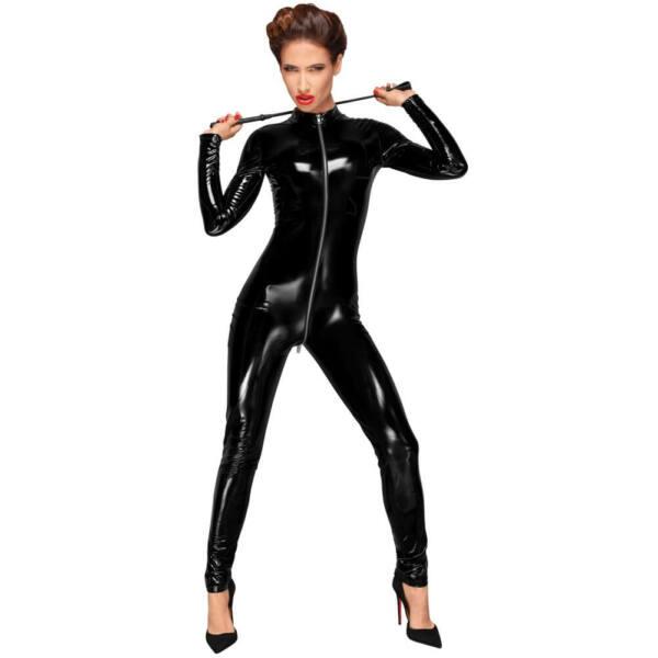 Noir - elöl cipzáros fényes, hosszúujjú overall (fekete)