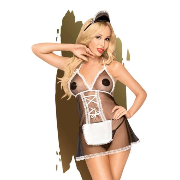 Penthouse Teaser - szobalány ruha tangával és hajdísszel (fekete-fehér)