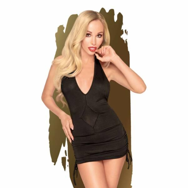 Penthouse Earth-shaker - nyakpántos, húzott ruha tangával (fekete)