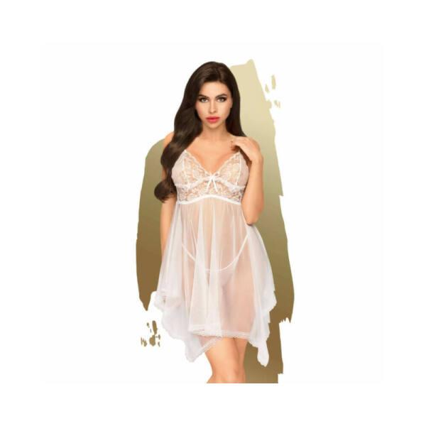 Penthouse Naughty Doll - aszimmetrikus, csipkés ruha tangával (fehér)