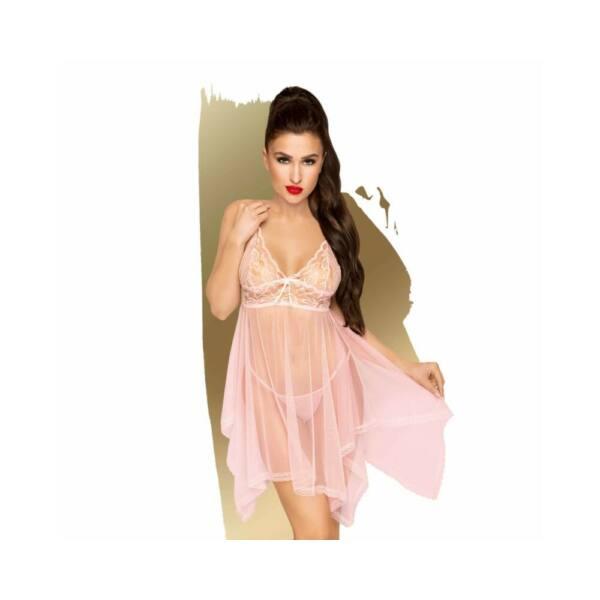 Penthouse Naughty Doll - aszimmetrikus, csipkés ruha tangával (pink)