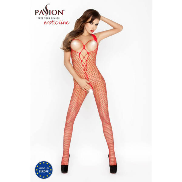 Passion BS014 - elöl hálós-fűzős, nyitott necc overall (piros) - S-L