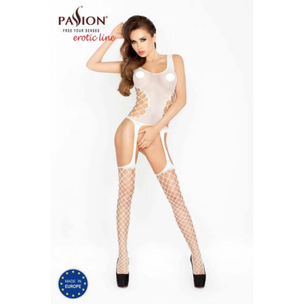 Passion BS019 - oldalt hálós necc szett (fehér) - S-L