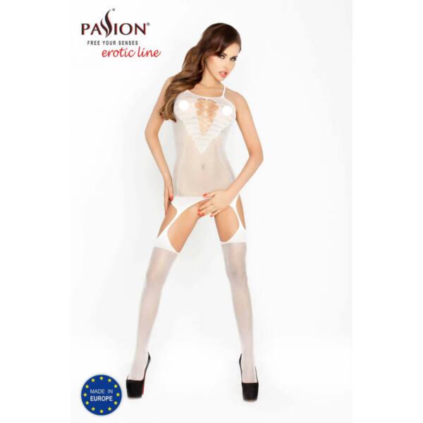Passion BS024 - hálós-szíves, aprószemű necc szett (fehér) - S-L