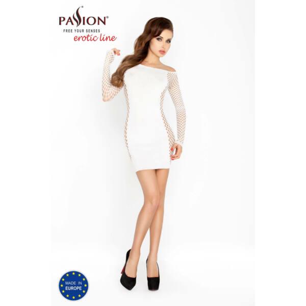 Passion BS025 - oldalt hálós, hosszúujjú miniruha (fehér) - S-L