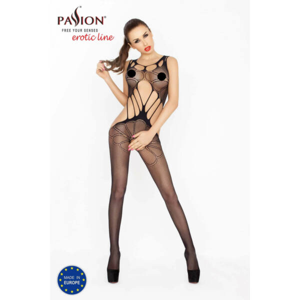 Passion BS030 - nyitott necc overall (fekete) - S-L
