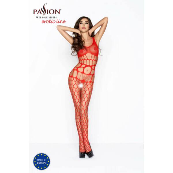 Passion BS032 - hálós, ujjatlan, nyitott necc overall (piros) - S-L