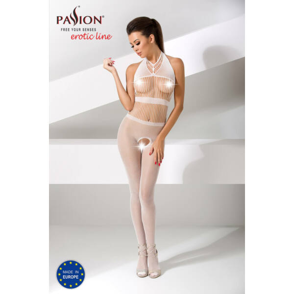 Passion BS048- csíkos, nyakpántos, nyitott necc overall (fehér) - S-L