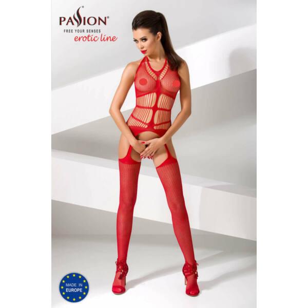 Passion BS049 - csíkos, nyakpántos necc szett (piros) - S-L