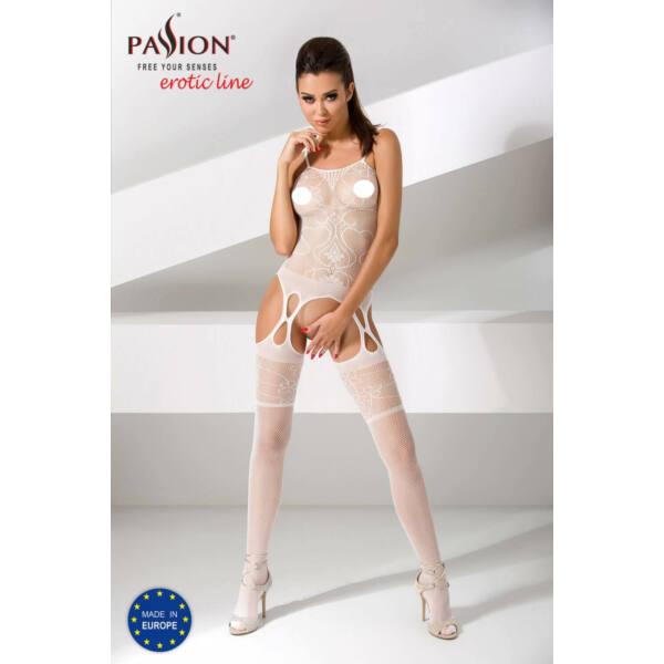 Passion BS050 - szíves-virágos necc szett (fehér) - S-L