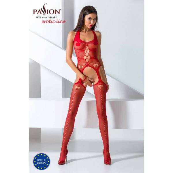 Passion BS059 - nyakpántos, lyukacsos necc szett (piros) - S-L