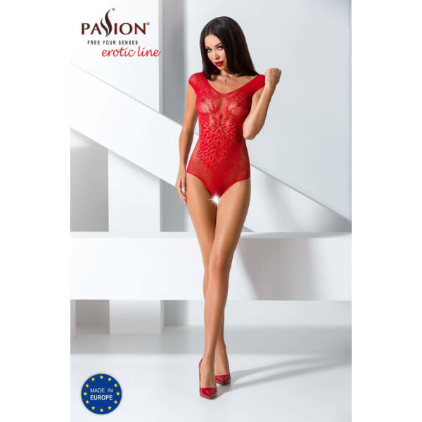 Passion BS064 - angyalszárnyas, nyitott necc body (piros) - S-L