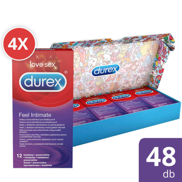 Durex Feel Intimate - vékonyfalú óvszer csomag (4 x 12db)