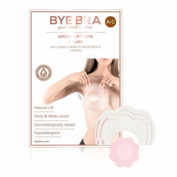 Bye Bra A-C - láthatatlan mellemelő tapasz - pink (4 pár)